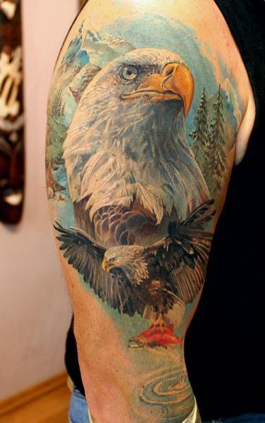 Shoulder Realistic Eagle Tattoo by Tattoo X