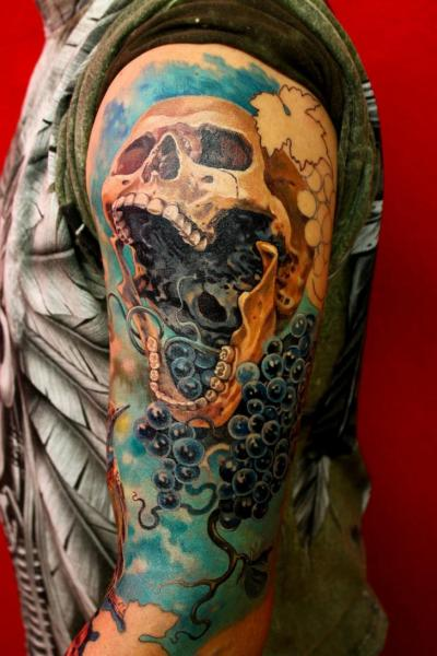 Shoulder Skull Tattoo by Tattoo X