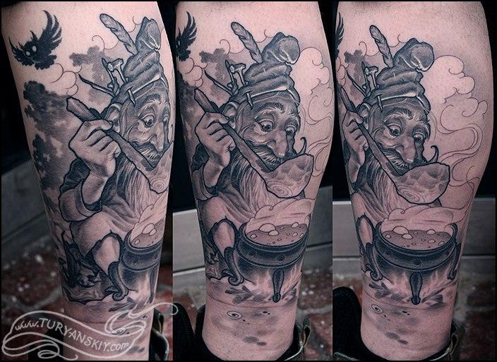 Fantasy Calf Dwarf Tattoo by Oleg Turyanskiy