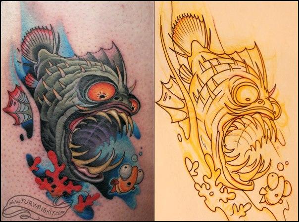 Fantasie Fisch Tattoo von Oleg Turyanskiy