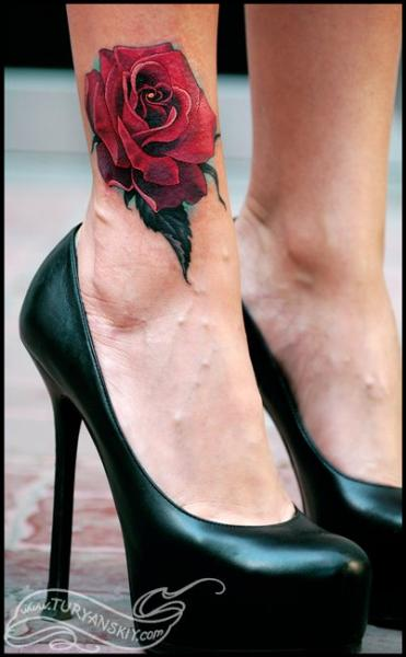 Realistic Leg Flower Rose Tattoo by Oleg Turyanskiy