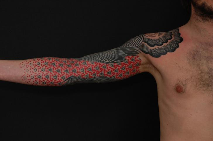 Arm Dotwork Geometric Tattoo by Gerhard Wiesbeck