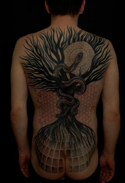 Snake Back Dotwork Tree Tattoo by Gerhard Wiesbeck