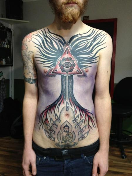 Fantasy Chest Belly Tattoo by Gerhard Wiesbeck
