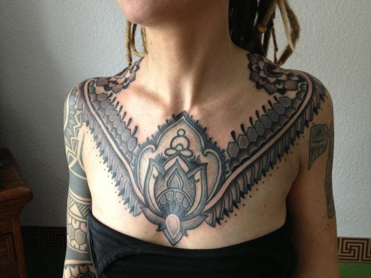 Dotwork Breast Tattoo by Gerhard Wiesbeck