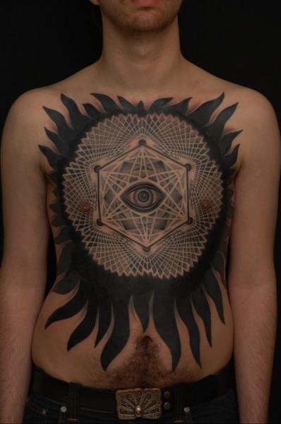Chest Eye Dotwork Geometric Tattoo by Gerhard Wiesbeck