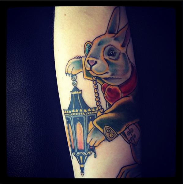 Arm Fantasy Rabbit Tattoo by Time Travelling Tattoo
