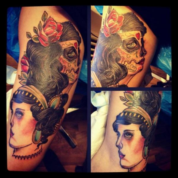 Arm Mexican Skull Women Tattoo by Time Travelling Tattoo
