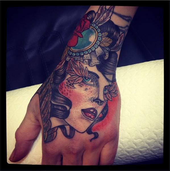 Old School Hand Gypsy Tattoo by Time Travelling Tattoo