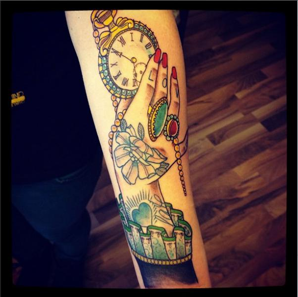 Arm Clock New School Tattoo by Time Travelling Tattoo