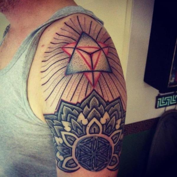 Shoulder Dotwork Tattoo by Time Travelling Tattoo