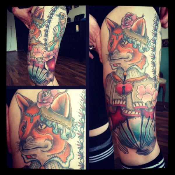 Fantasy Wolf Thigh Tattoo by Time Travelling Tattoo