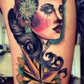 Gypsy Thigh tattoo by Time Travelling Tattoo