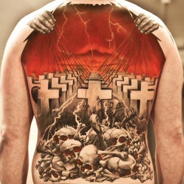 Back Metallica Tattoo by Wicked Tattoo