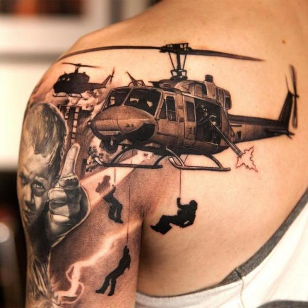 Shoulder Realistic Helicopter Tattoo by Wicked Tattoo