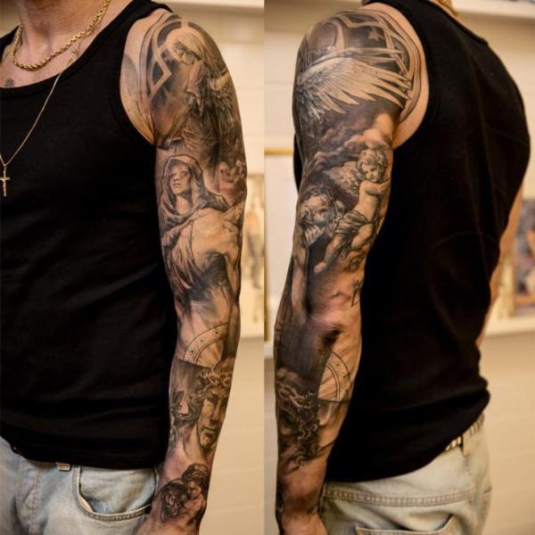Tatuaż Anioł Rękaw Przez Wicked Tattoo