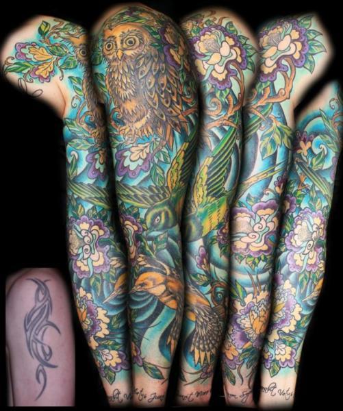 Tatuaje Brazo Realista Buho Pajaro Por Die Stichelei