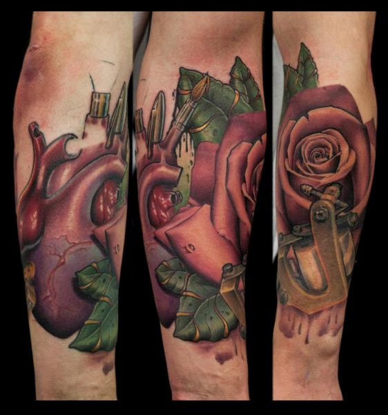 Arm Heart Flower Tattoo by Nemesis Tattoo
