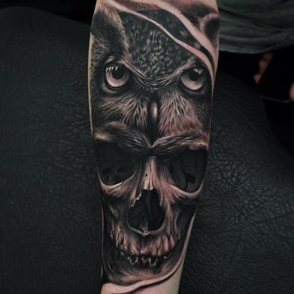 Arm Skull Owl Tattoo by Nemesis Tattoo