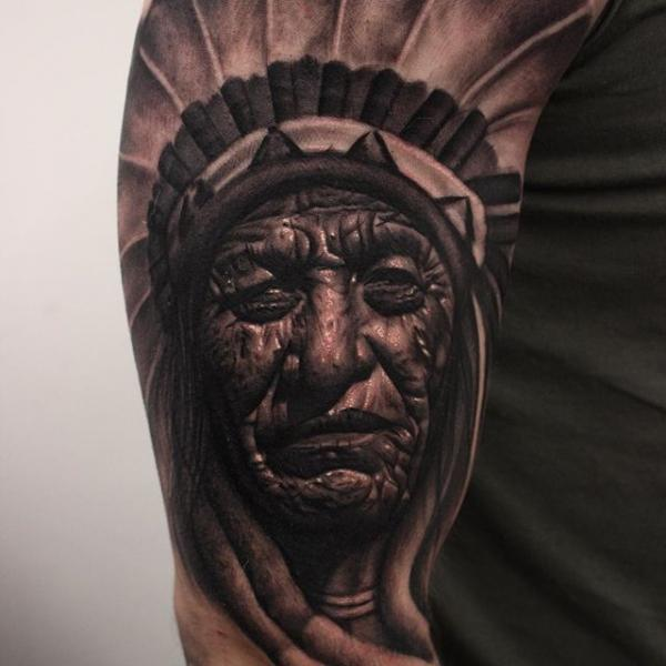 Arm Portrait Realistic Indian Tattoo by Nemesis Tattoo