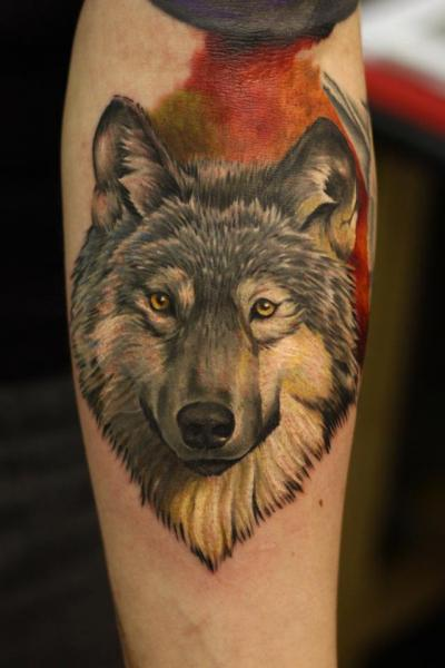 Arm Realistic Wolf Tattoo by Nemesis Tattoo