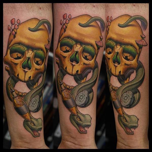 Arm Snake Skull Tattoo by Nemesis Tattoo