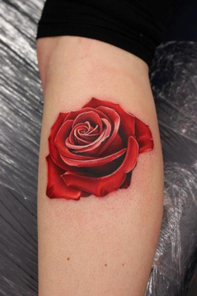 Realistic Calf Flower Tattoo by Nemesis Tattoo