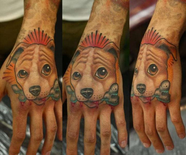 Dog Hand Tattoo by Nemesis Tattoo