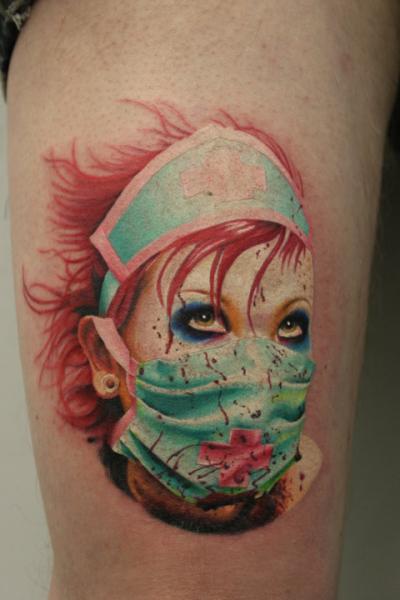 Fantasy Nurse Thigh Tattoo by Nemesis Tattoo