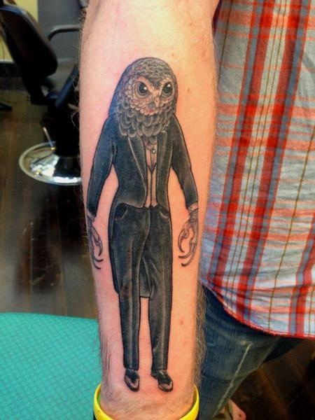 Arm Fantasy Owl Tattoo by Scapegoat Tattoo