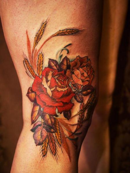 Tatuaje Pierna Flor por Scapegoat Tattoo