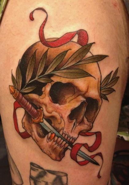 Skull Dagger Tattoo by Scapegoat Tattoo