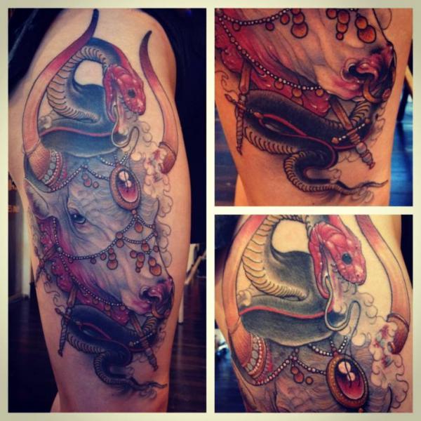 Bull Thigh Tattoo by Scapegoat Tattoo
