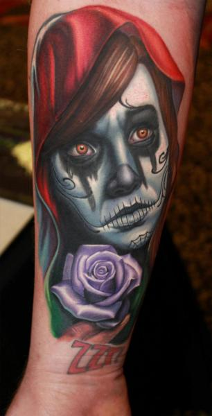 Arm Mexican Skull Tattoo by Steve Wimmer