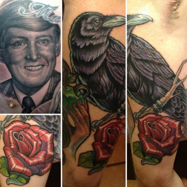 Realistic Crow Tattoo by Steve Wimmer