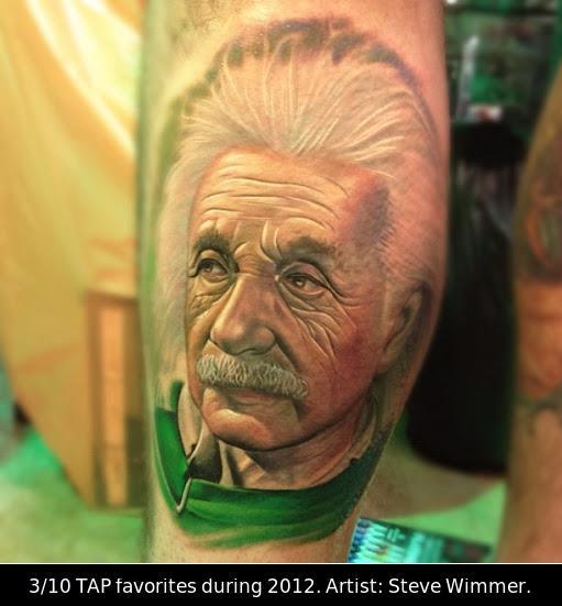 Realistic Einstein Tattoo by Steve Wimmer