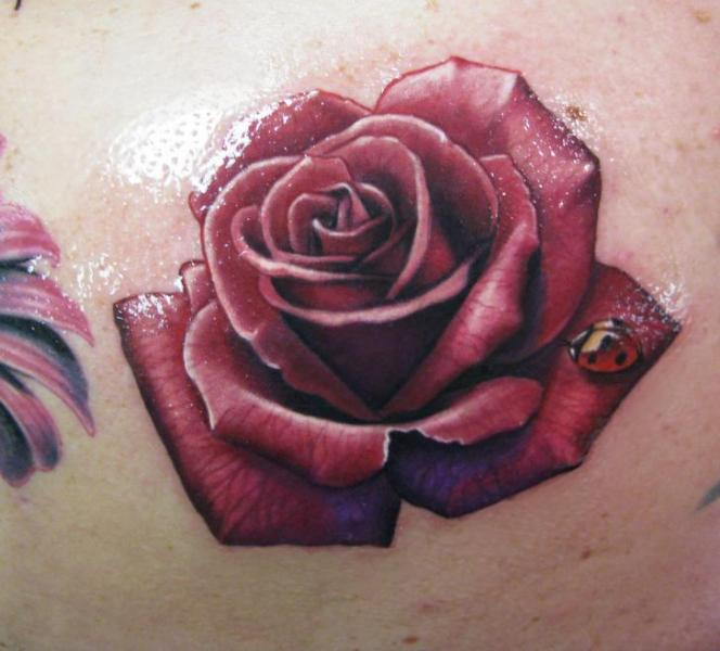 Realistic Flower Rose Tattoo by Steve Wimmer