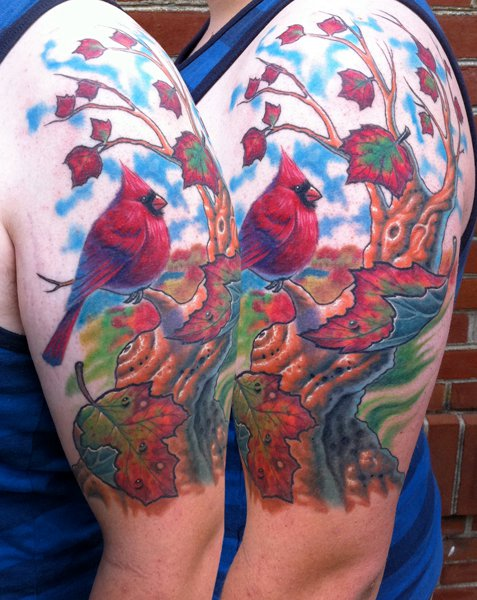 Shoulder Bird Tree Tattoo by Steve Wimmer