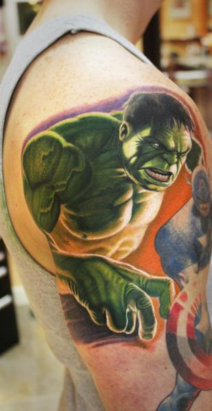 Shoulder Fantasy Hulk Tattoo by Steve Wimmer