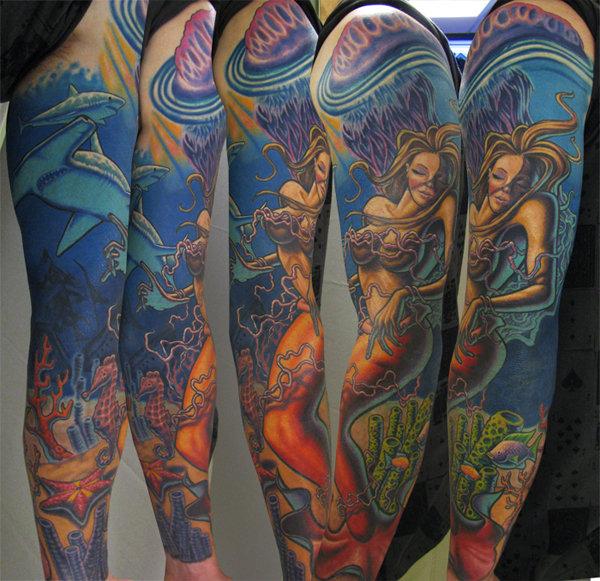 Tatuaje Fantasy Sirena Mar Manga por Steve Wimmer
