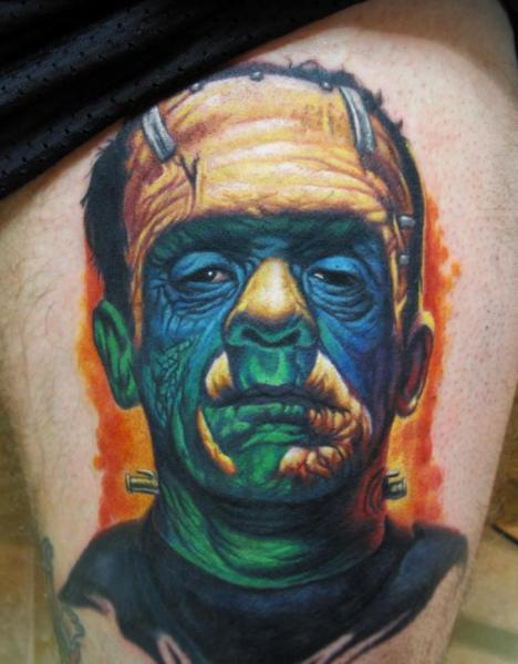 Fantasy Frankenstein Thigh Tattoo by Steve Wimmer