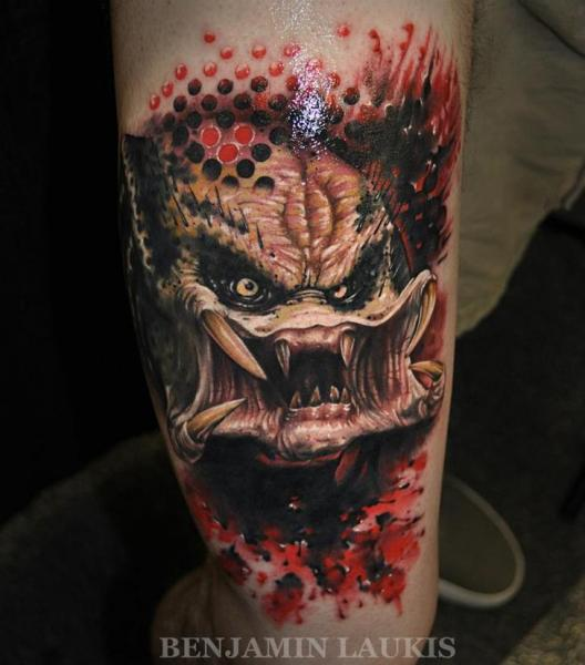Fantasy Monster Thigh Tattoo by Pure Vision Tattoo