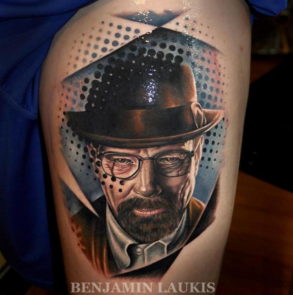 Portrait Realistic Thigh Tattoo by Pure Vision Tattoo