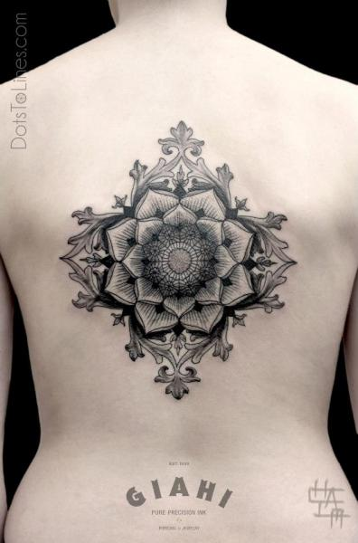 Back Dotwork Geometric Tattoo by Dots To Lines