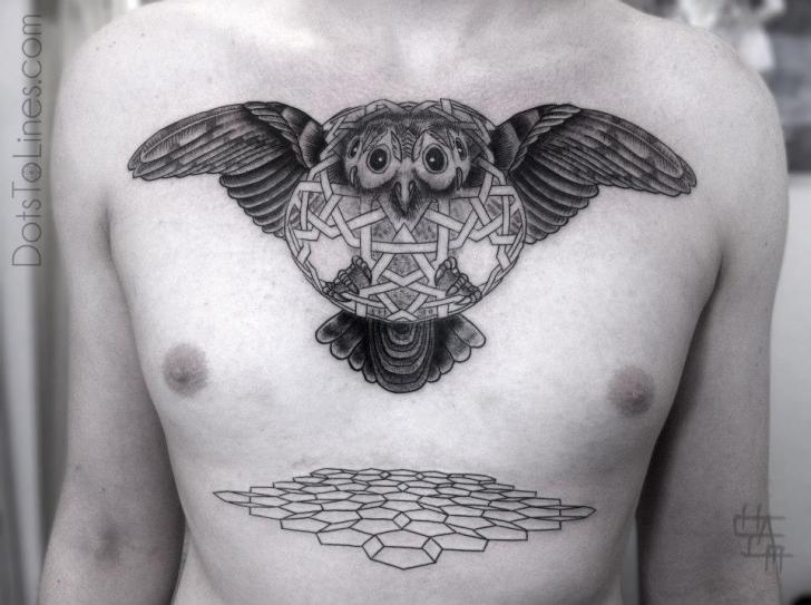 Chest Owl Dotwork Tattoo by Dots To Lines