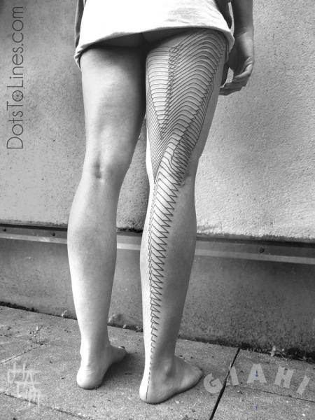 Leg Dotwork Line Tattoo by Dots To Lines