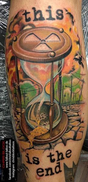 Calf Clepsydra Tattoo by Fallout Tattoo