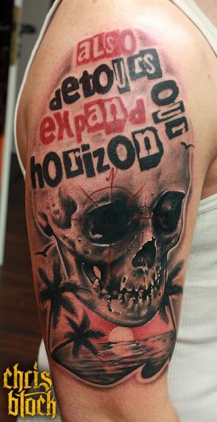 Shoulder Lettering Skull Fonts Tattoo by Fallout Tattoo
