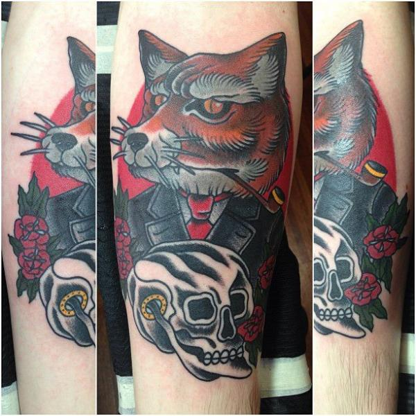 Arm Fantasy Old School Skull Wolf Tattoo by Seven Devils