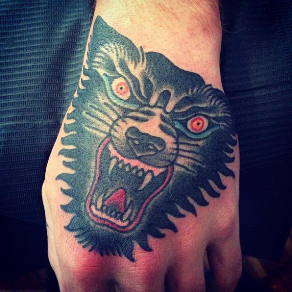 Old School Hand Wolf Tattoo by Seven Devils